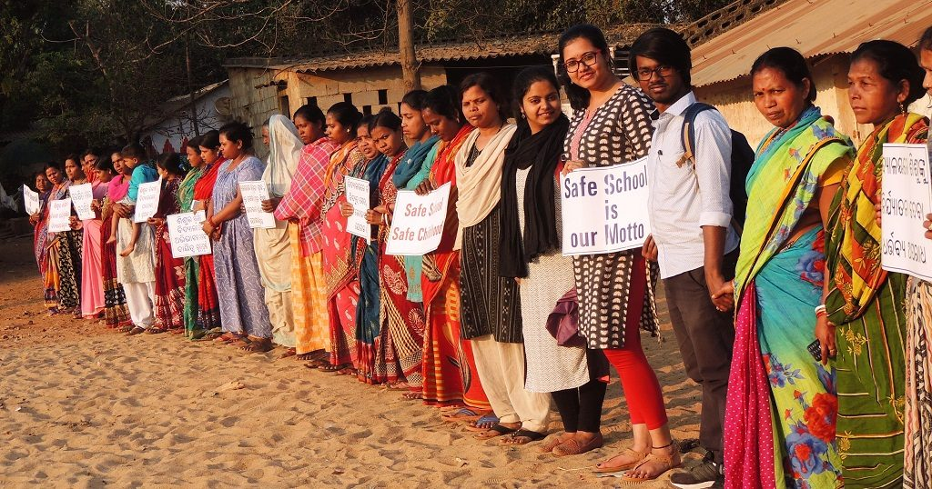 Human chain promotes child safety in school