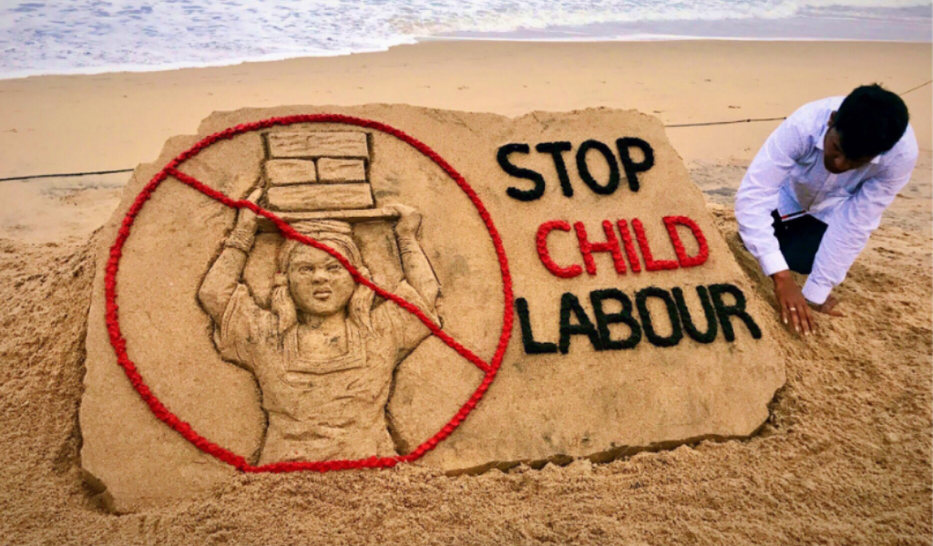 Sudarshan etches World Child Labour Day mural