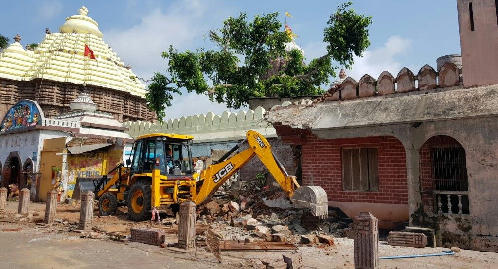Illegal structures bulldozed along Jagannath temple wall in Puri