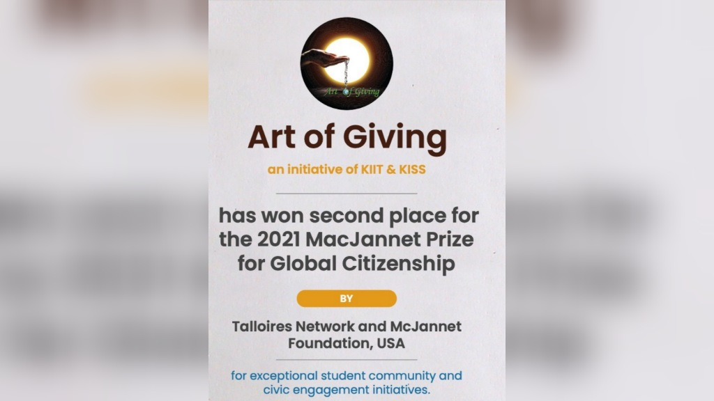 Art of Giving foundation wins 2nd position in global citizenship award